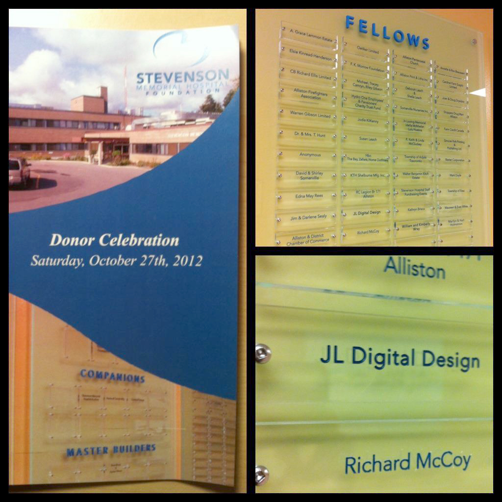 Stevenson Memorial hospital Donor Recognition Wall